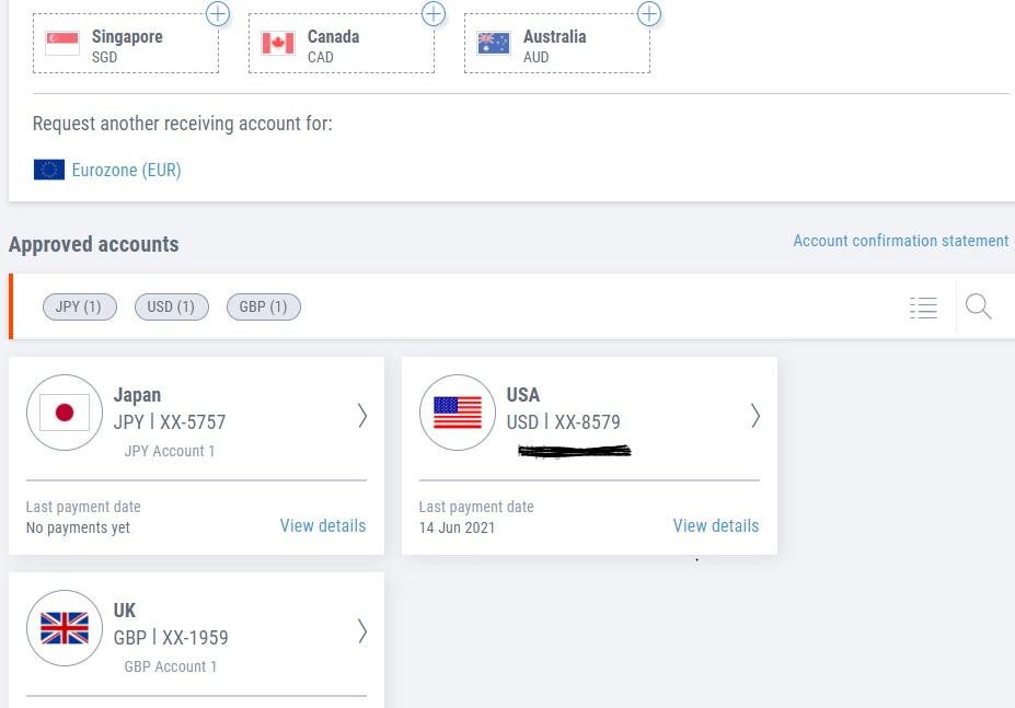 Payoneer receving accounts