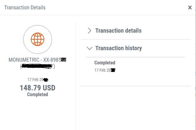Monumetric payment proof